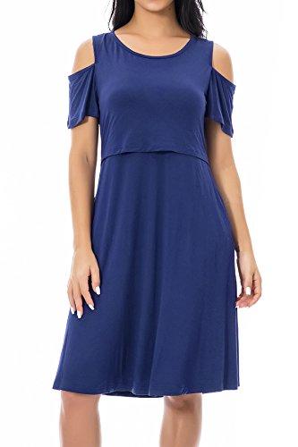 Smallshow Stillkleid Umstandsmode Tshirt Kleid Umstandskleid Kurzarm 2in1 Sommerkleid Damen Umstands Kalte Schultern Navy M
