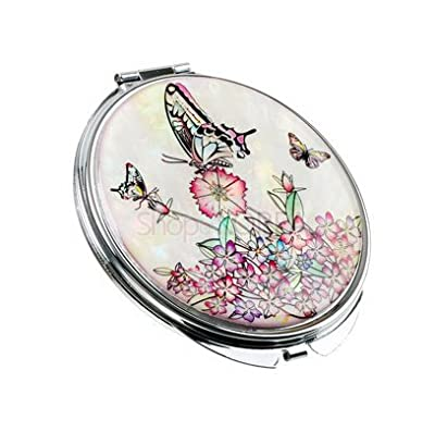 Schöner handgefertigter Perlmutt-Kosmetikspiegel, weißer Schmetterling