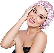 ELIHAIR Stain Bonnet Silk Sleep Cap Adjustable Satin Cap for Night Sleeping Hair Bonnet Reversible Double Laye