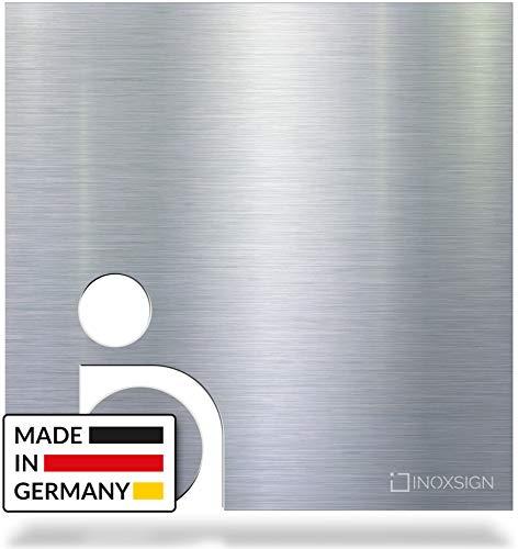 INOXSIGN WC-Schild B03 – Toilettenschild für barrierefreies WC – Selbstklebendes Edelstahl Tür-Schild – klar erkennbar & werkzeuglose Montage – Piktogramm Rollstuhlfahrer – Made in Germany