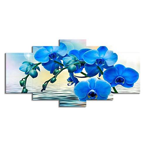 """WLWIN Bild 150x80 cm/59.1\""""x31.5\"""",4 Größen erhältlich,Bild auf Leinwand fertig gerahmte Bilder 5 Teile,Kunstdrucke, Wandbilder ,Leinwandbilder,Blaue Orchidee"""