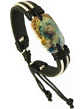 Kaltner Präsente Geschenkidee - Lederarmband Surferarmband Leder Armband Echtleder Mutter Gottes Maria mit Jesus...