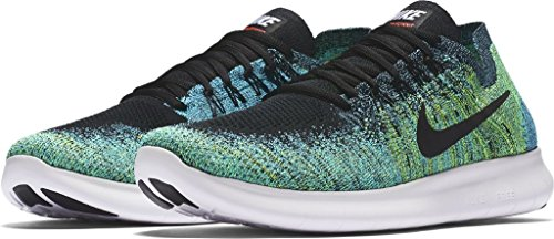 Nike Free Run Flyknit 2017, Scarpe Running Uomo BLACK/BLACK-VOLT-CHLORINE BLUE
