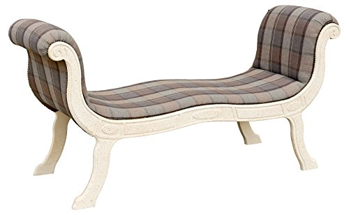 Febland Julius Open Back Curved Chaise, Fabric, Check Birch, 54x155x77 cm