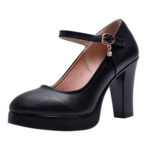 Yvelands Damen Spitze Zehe atmungsaktiv Schnalle Strass Casual Jobs Einzelne Schuhe(Schwarz,41 ()