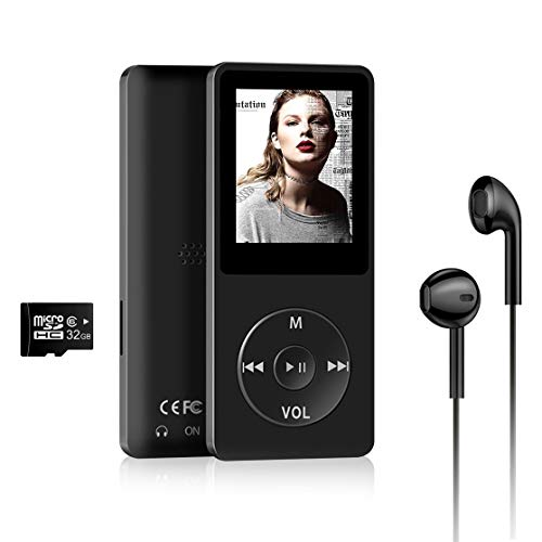 Wodgreat MP3 Musik Player, MP3 Player mit 32GB Speicherkarte Unterstützt bis 128GB MP4 Player Sport 30 Stunden Wiedergabe Musikplayer mit Lautsprecher FM Radio Kopfhörer 1.8 Zoll TFT Bildschirm