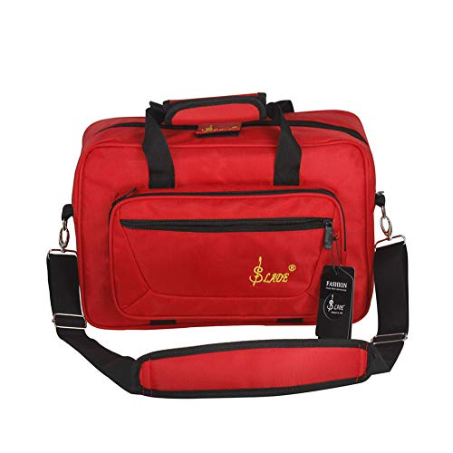 ETbotu Universelle Tasche aus Holz Klarinette Transporttasche Weich Tasche Klarinette Schwamm Polsterung mit Schultergurt rot