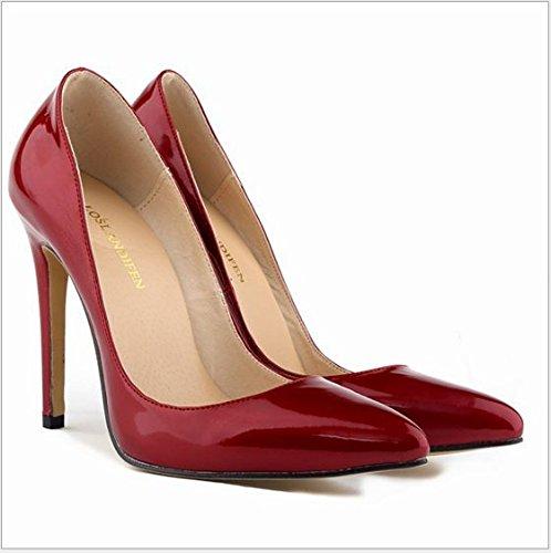 XINJING-S Bowknot High Heels Schuhe Party Hochzeit Frauen Pumps Heels OL Kleidung Schuhe Sandalen Dunkelrot