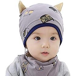 Gorro de punto de algodón con diseño de orejas de gato, gorro de calavera, gorro, pañuelo, gorro y bufanda para el cuello para recién nacidos de 0 a 12 meses gris Talla:14-18inch for baby 0-6 months