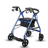 CHenXy Älterer Wanderer, Aluminiumlegierungs-Hilfstransport-gehendes Fahrzeug mit weichem Sitz-faltbarem hellem tragbarem Gurt mit Pedalen, Tragfähigkeit bis zu 100kg, Blau, Rot medizinische Walker -