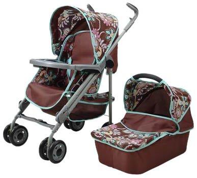 Knorrtoys.com 30377 Boogie - Coche de paseo para muñecas convertible 5 en 1, diseño de flores, color marrón por Knorrtoys.com