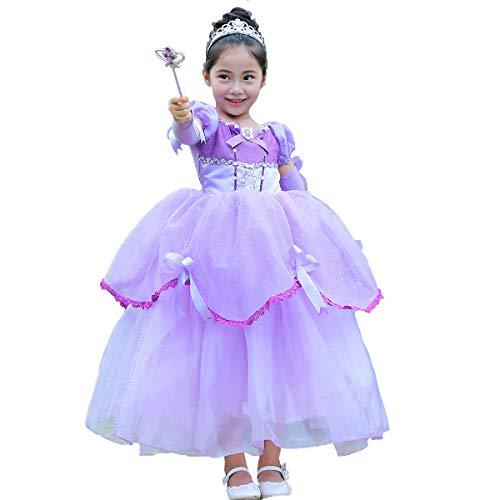 Mädchen Prinzessin Kostüm Belle Kleid Schönheit und das Biest Cosplay Partykleid Fasching Verkleidung Geburtstag Festzug Karneval Festkleid Schulterfrei Rüsche Maxi Langarm Ballkleid Lila ()