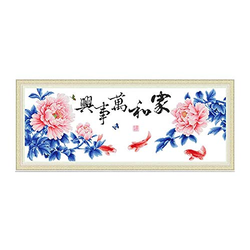 DOMEI JIA He Wan Shi Xin Family Harmony Pink Peony Koi Fish Stamped Cross Stitch Kit, 59.0Ò x 23.2