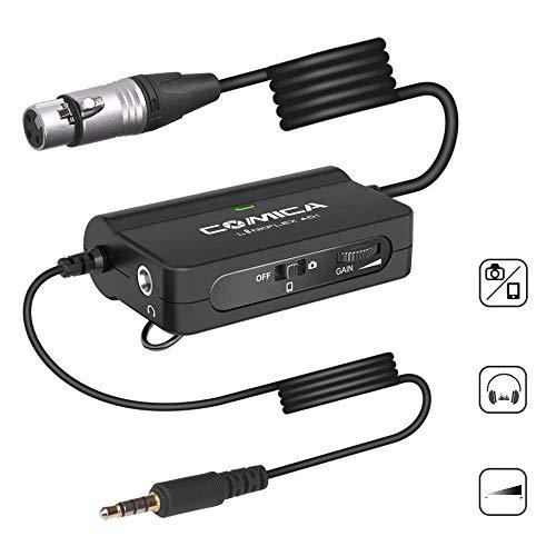 Comica CVM-LinkFlexAD1 Cavo XLR da 3,5 mm, adattatore preamplificatore audio XLR con monitoraggio audio in tempo reale, adattatore da XLR a TRS/TRRS per camera DSLR Smartphone (150 pollici)