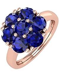 14K Gold Rund Blau Saphir Verlobungsring Band Ring (11/2Karat)