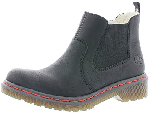 Rieker Damen Stiefeletten Y8264, Frauen Chelsea Boots, elegant Women's Women Woman Freizeit leger Stiefel Bootie,schwarz,38 EU / 5 UK