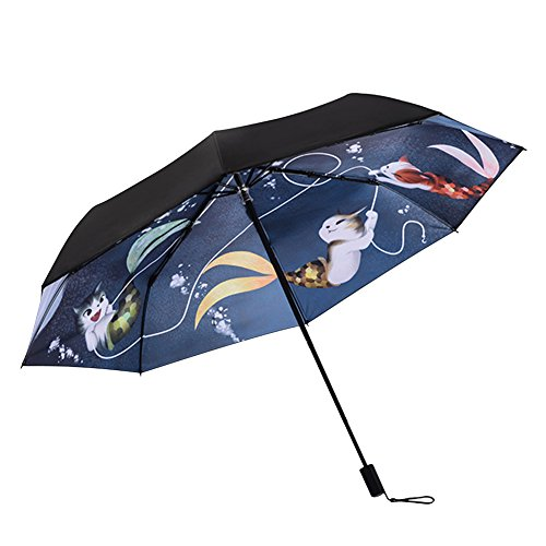 Paraguas Plegable Compacto con protección UV para Viajes, Resistente al Viento, Lluvia, Paraguas para Hombres, Mujeres y niños, Gato (Negro) - YU-SAN-000044-MUK-01