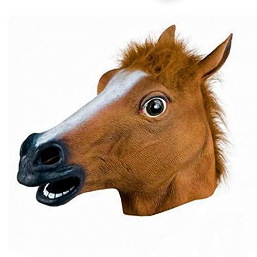(DIECH Maske aus Gummi, Pferdekopf, für Halloween, Erwachsene, Kostüm für Panto-Party, Tier- und Naturmaske, unisex für Erwachsene)