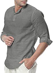 Men Solid Long Sleeve Business Shirt Tops, Male Fashion Button Loose Cotton Blend T Shirts Blouse Tunic Top