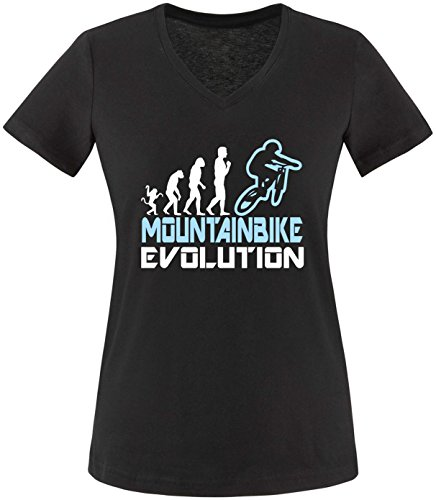 EZYshirt® Mountainbike Evolution Damen V-Neck T-Shirt Schwarz/Weiss/Hellbl