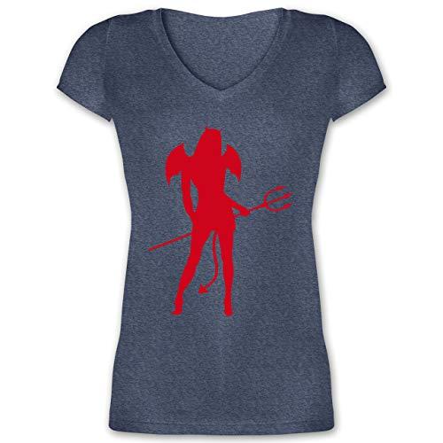 Halloween - Sexy Teuflin - XL - Dunkelblau meliert - XO1525 - Damen T-Shirt mit V-Ausschnitt