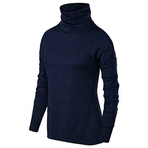 TCA Warm-Up Damen Laufshirt Langarm Funktionsshirt mit Rollkragen - Blau, M