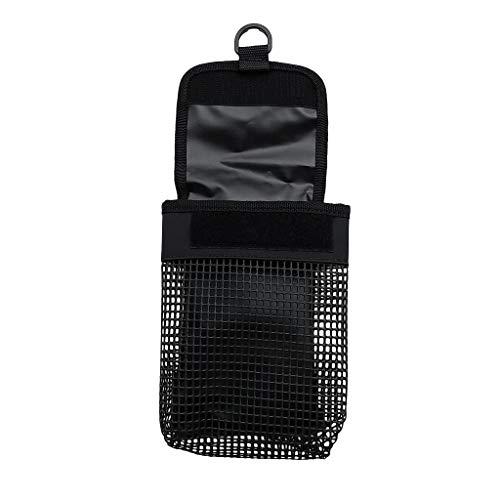 perfk Kleine Netztasche mit Haken Hüfttasche Gürte Tasche für Scuba Diving Reel Taucherboje Signalboje Markierungsboje Halter - Schwarz (Tauchen Gurt)