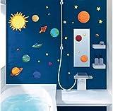 SKANGSonnensystem wandaufkleber kinderzimmer Schlafzimmer Sterne Weltraum Himmel wandtattoos Planeten Erde Sonne Saturn Mars Poster Wandbild