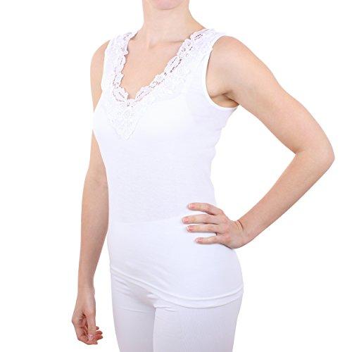 Damen Hemd mit Spitze (Shirt, Top, Unterhemd) Nr. 57/2 ( Weiß / 44/46 ) - 2