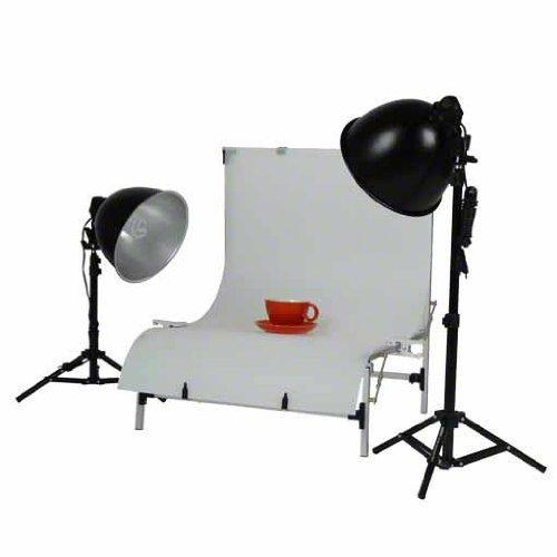 Walimex Studioset Daylight 150/150 (Dauerlicht 150 W, Lampenstativ, Aufnahmetisch)