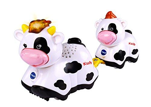VTech Baby 80-165204 - Tip Tap Tiere - Kuh und Kalb, weiß/schwarz (deutsche Version) - Kurze Kalb