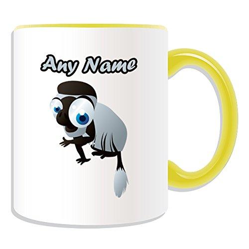Personalisiertes Geschenk-big-eye schwarz-weiß-Stummelaffe Tasse (Animal Design Thema, Farbe Optionen)-alle Nachricht/Name auf Ihre einzigartige Tasse-colobi Monkey, keramik, gelb