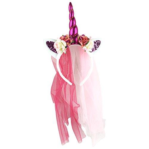 Einhorn Haarreif mit Horn Bling Bling Elastisch Einhorn Blumenmädchen Haarschmuck Blumenstirnband mit Gaze für Hochzeit Party Karneval Fasching (Halloween Mädchen Rockabilly Kostüme)