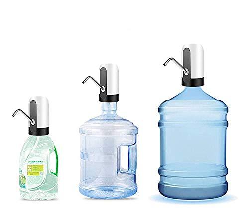 JANRON-Water Pump Bomba dispensador de Agua para Botellas y garrafas Dispensador de Bomba de Agua Recargable Dispensador Inalámbrico Eléctrico USB para Hogar y Oficina Blanco/Negro