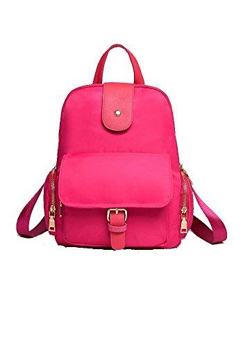 Damen Casual Nylon Echtes Leder Laptoptasche Schulrucksack Schulranzen Reisetasche (Rosa) Rosa