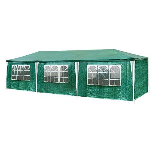 HG 3x9m Festzelt grün Pavillion Kuppelzelt Polyethylen Stahlrohre mit 6 Seitenteilen und 2...