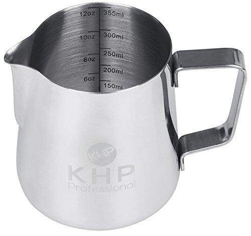 Milchkännchen 350ml von KHP Professional, perfekt für Milchaufschäumer, aus rostfreiem Edelstahl, Milch aufschäumen, silber, Milchkanne, Cafe Art, Milchschaum, Aufschäumkännchen - 4