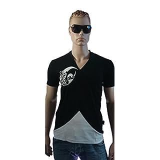 Srazda - Tee-shirt noir et blanc homme col V - Coupe ajustée et fashion - Manches courtes - logo velours blanc sur le côté