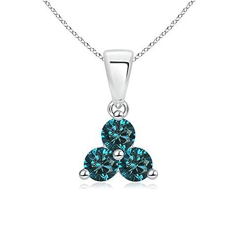 3 Stone Round Enhanced Blue Diamond Triangle Pendant Necklace in