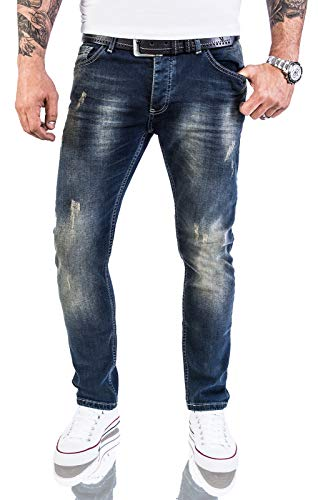 Rock Creek Designer Herren Jeans Hose Stretch Jeanshose Basic Slim Fit [RC-2117 - Blue Vintage - W36 L30]