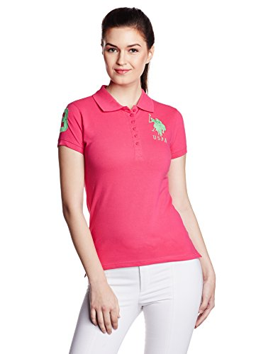 US POLO Women's Band Collar T-Shirt (UWTS0463_Raspberry Sorbe_Small)  available at amazon for Rs.659