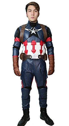 Leder Kostüm Jacke - Wellgift Captain America Kostüm Steven Roger Cosplay CW3 Erwachsene Herren Superheld Pu Leder Jacke & Hose & Harness Gürtel Handschuhe Outfit Halloween Verkleiden Kleidung Anzug
