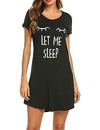 MAXMODA Damen Nachthemd Baumwolle Printed Kurzarm Scoopneck High Low Sleep Tee Nachtwäsche S-XXL