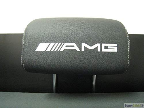 SUPERSTICKI 5X MERC Schriftzug Logo Kopfstützen Aufkleber für Kopfstütze Sitze Handschufach Lack Tuningsticker Decal Decals geplottet Hochleistungsfolie oder Scheibe Headrest 15cm