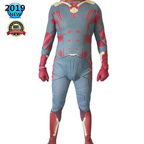 HUIHONG Vision Cosplay Kostüm Herren Battle Kostüm Marvel Superheld Kostüm Zentai Adult Kinder Weihnachten Halloween Bodysuit - Vision Marvel Kostüm