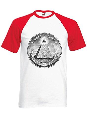 Illuminati Mason Masonic Dollar Pyramid Red/White Men Women Unisex Shirt Sleeve Baseball T Shirt-M par  NisabellaLTD