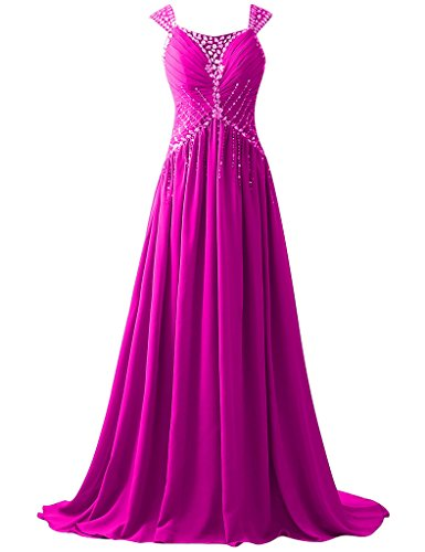 HUINI Perlen Sequins Straps Lange Chiffon Prom Abendkleider Party Formal Gowns Fuchsie