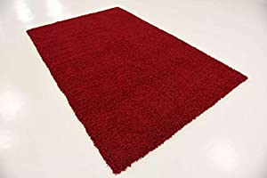 Cozy Shag Collection Solid Shag Rug Contemporary Living & Bedroom Soft Shaggy Area Rug Red Carpet by A2ZRUG