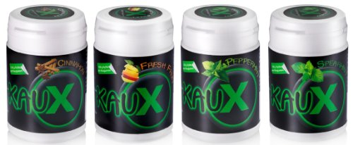 kauX Xylitol Zahnpflege-Kaugummi 4'er Pack gemischt (60g=40 Stück pro Dose)