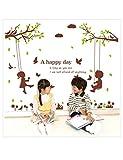 WSXEDC fai da Te Cartone Carino Ragazzo e Ragazza Altalena Albero Camera dei Bambini Decorazione Uccelli Adesivi murali Carta da Parati Bambini 3D Poster , Multi